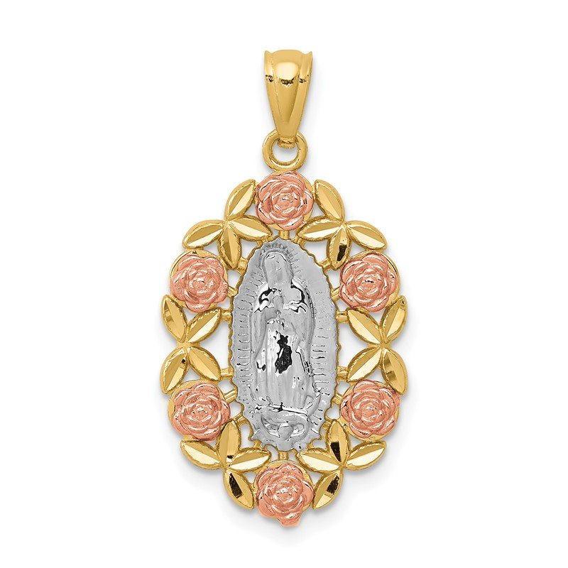 Quality Gold 14K Two-Tone w/White Rhodium Guadalupe Pendant