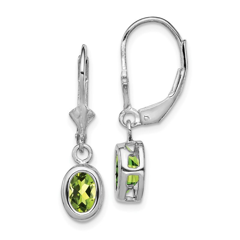 Quality Gold Sterling Silver Rhodium 7x5mm Oval Peridot Leverback Earrings