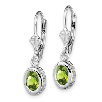 Sterling Silver Rhodium 7x5mm Oval Peridot Leverback Earrings