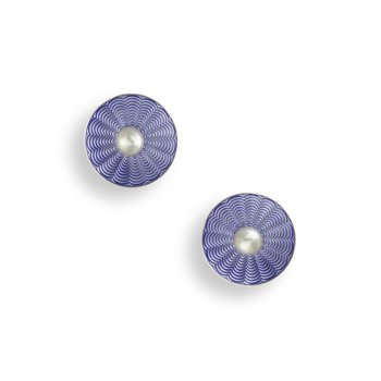 Purple Round Stud Earrings.Sterling Silver-Freshwater Pearls