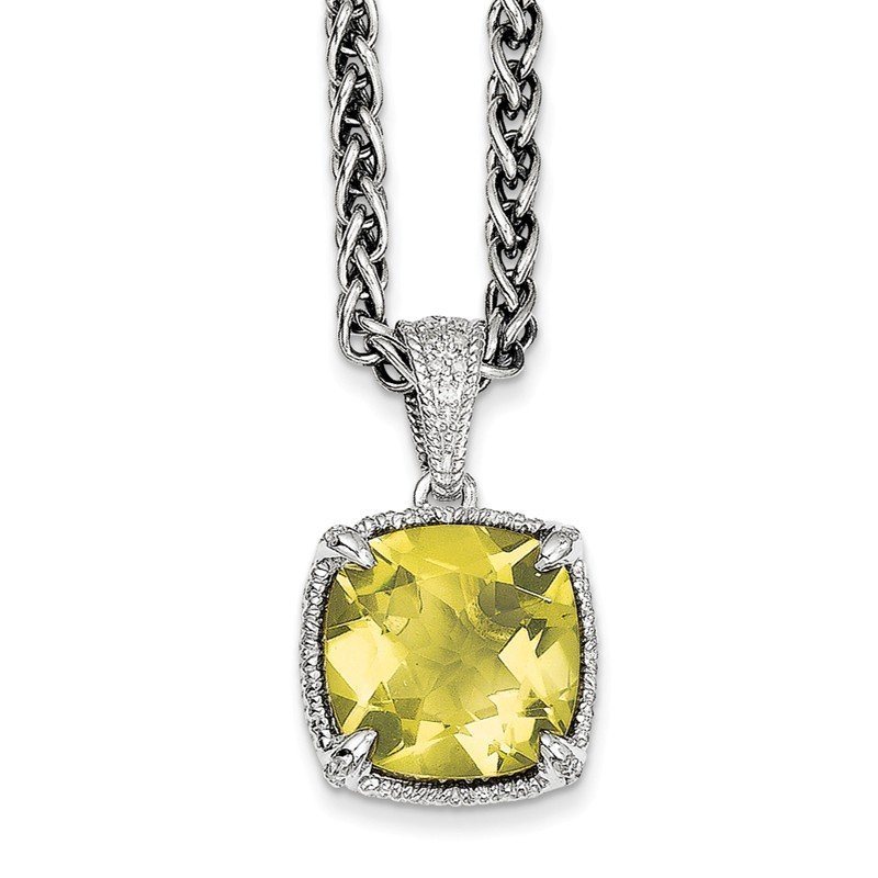 Sterling Silver Lemon Quartz & Diamond Necklace