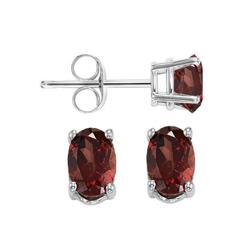 Oval Prong Set Garnet Studs in 14K White Gold
