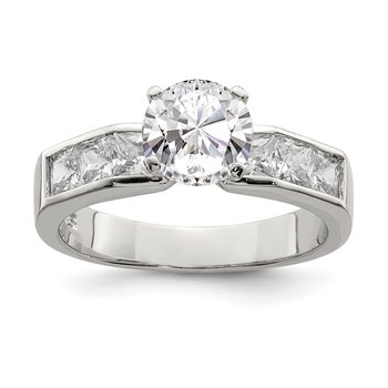Sterling Silver Rhodium-plated Round Shape Center CZ Ring