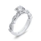 Love Story 14K White Gold Round Cut Diamond Engagement Ring (Semi-Mount)