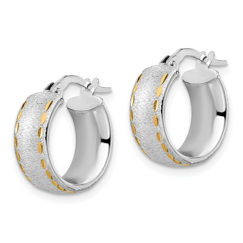 Leslie's Leslie's 14K White Gold Polished D/C Brushed Small Hoop Earrings