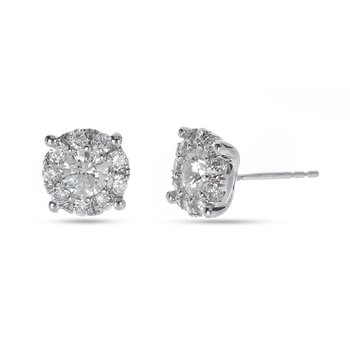 14K WG Diamond Galaxy Stud Earring in Prong Setting