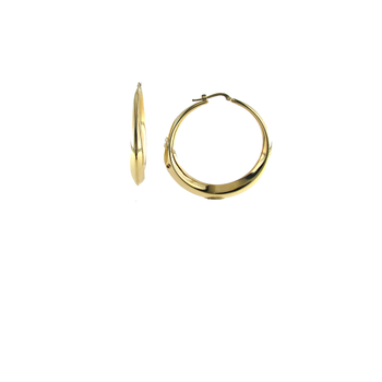 18Kt Gold Tapered Round Hoops