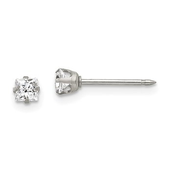 Inverness Stainless Steel 3mm Square CZ Post Earrings