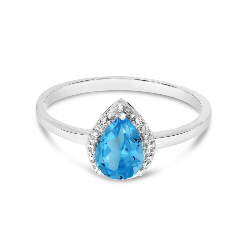Color Merchants 10k White Gold Pear Blue Topaz And Diamond Ring
