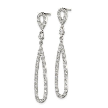 Sterling Silver Clear CZ Teardrop Dangle Post Earrings