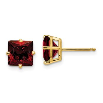 14k 7mm Princess Cut Garnet Earrings