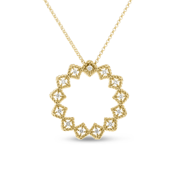 18KT GOLD LARGE DIAMOND CIRCLE PENDANT