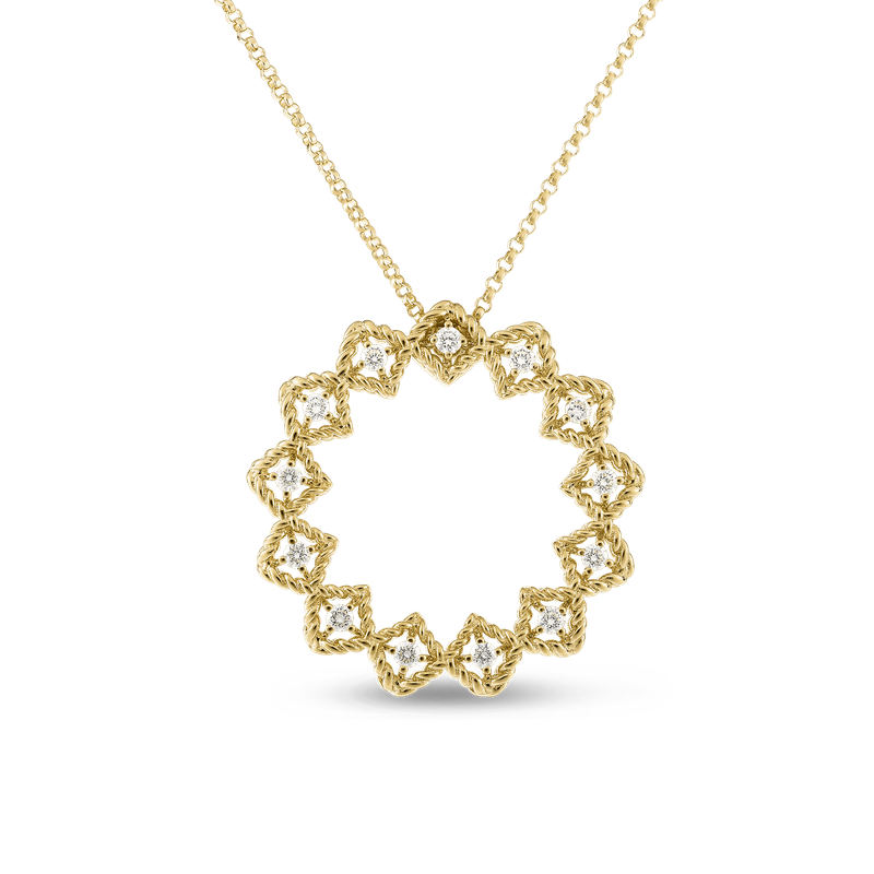 Roberto Coin 18Kt Gold Large Diamond Circle Pendant