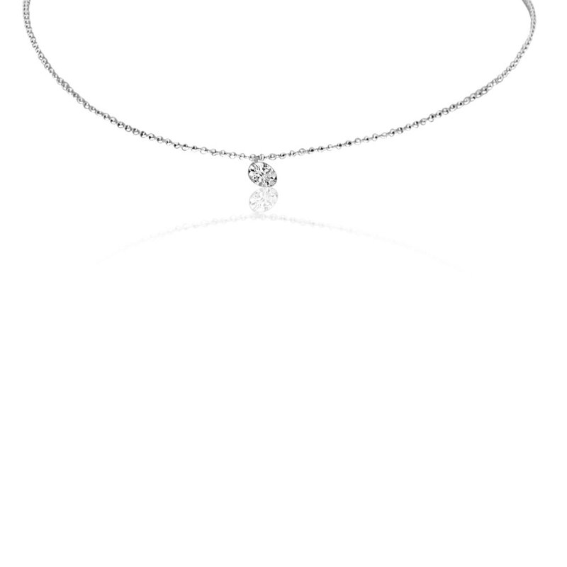 "14K White Gold 0.25 Single Diamond Necklace with 18"" Chain"
