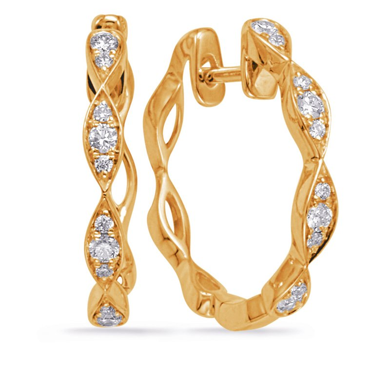 Briana Yellow Gold Diamond Hoop Earring