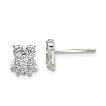 Sterling Silver CZ Owl Post Earrings