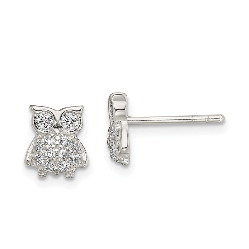 Quality Gold Sterling Silver CZ Owl Post Earrings