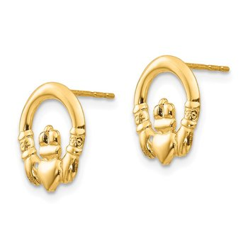 14k Madi K Claddagh Post Earrings