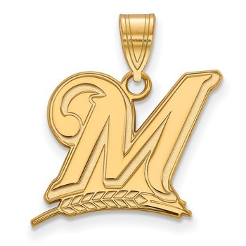 Gold-Plated Sterling Silver Milwaukee Brewers MLB Pendant
