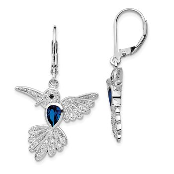 Cheryl M SS CZ & Lab CR. Dk Blue Spinel Hummingbird Leverback Earrings