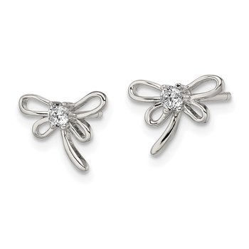 Sterling Silver Dragonfly w/ CZ Center Post Earrings