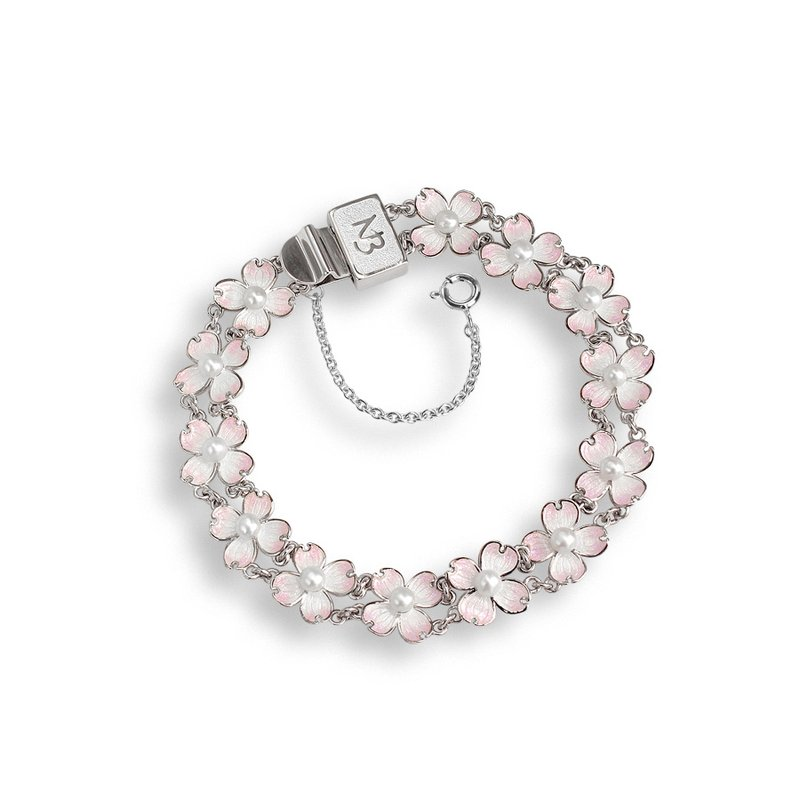 Nicole Barr Designs White Dogwood Chain-link Bracelet.Sterling Silver-Akoya Pearls