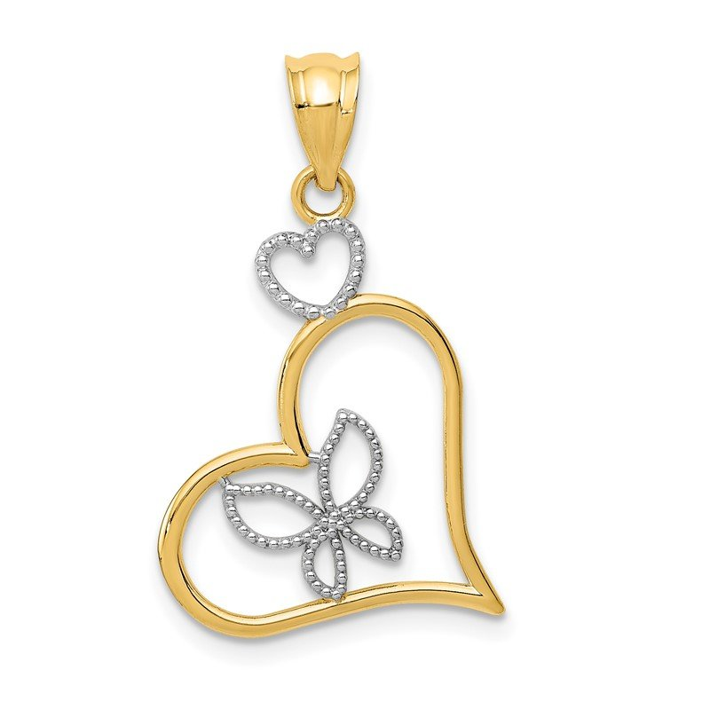 Quality Gold 14k and White Rhodium Butterfly in Heart Pendant