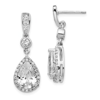 Cheryl M Sterling Silver Rhodium Plated Pear CZ Dangle Post Earrings