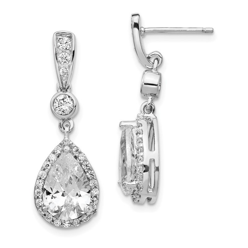 Cheryl M Cheryl M Sterling Silver Rhodium Plated Pear CZ Dangle Post Earrings