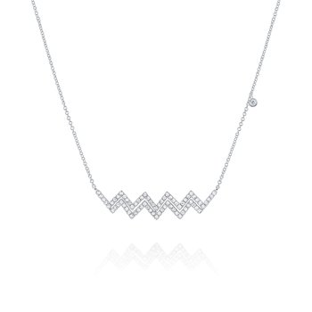 Diamond Zigzag Necklace with Floating Bezel Set in 14 Kt. Gold