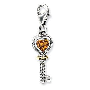 Sterling Silver w/14k Citrine Antiqued Key w/Lobster Clasp Charm