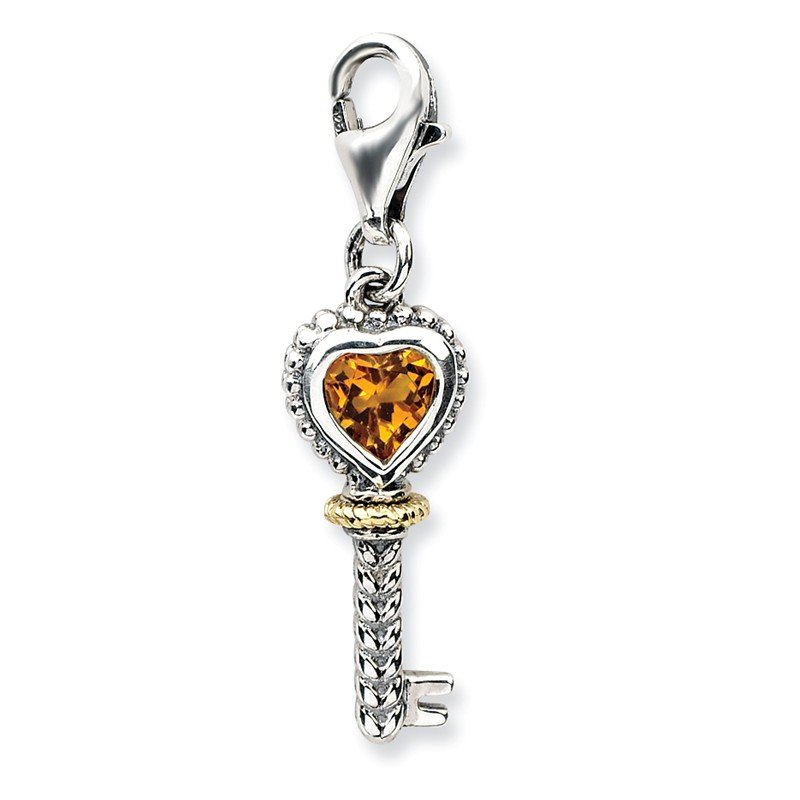 Shey Couture Sterling Silver w/14k Citrine Antiqued Key w/Lobster Clasp Charm