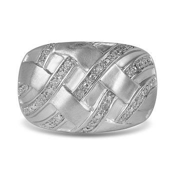 925 SS and Diamond Fashion Ring in Satin Finish
