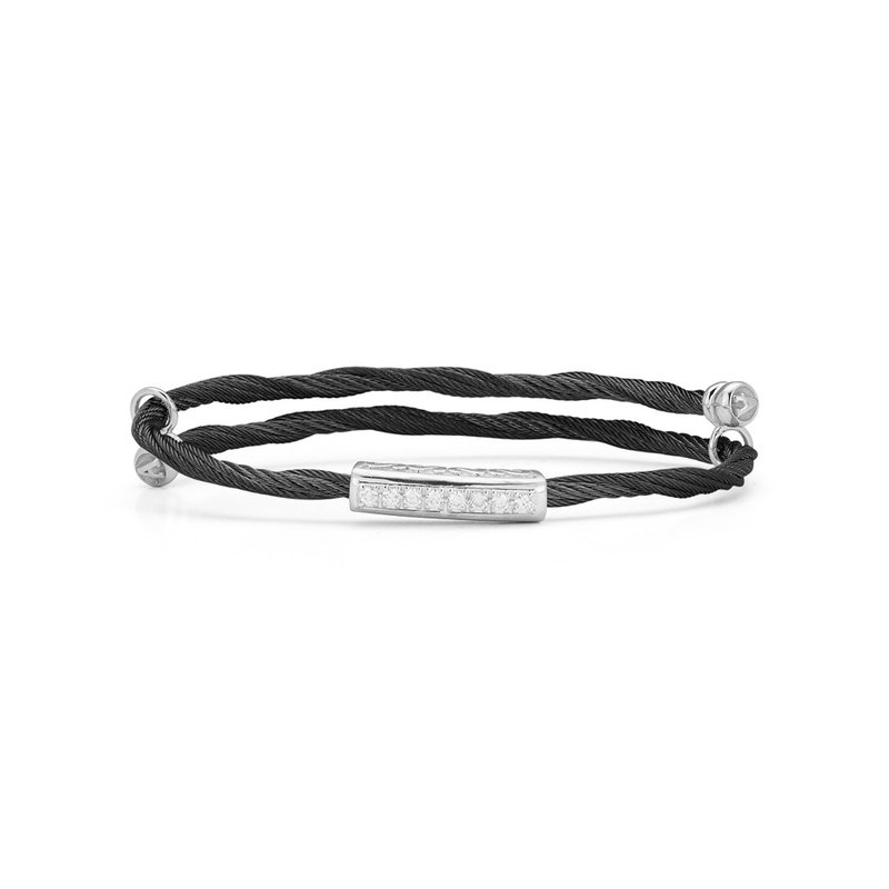 ALOR Black Cable Flex Size Bracelet with Bar Diamond Station set in 18kt White Gold