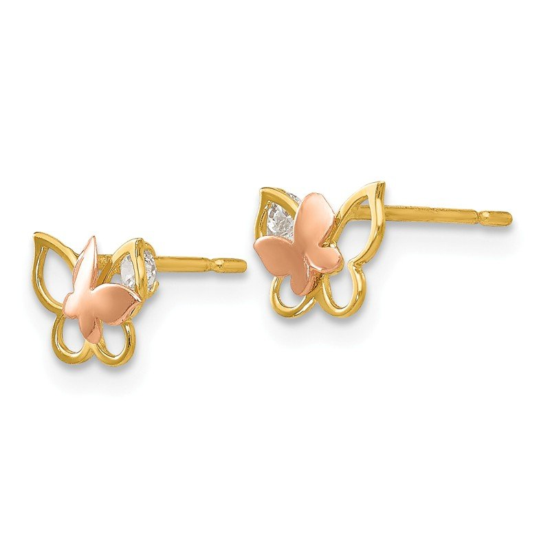 Quality Gold 14k Yellow & Rose Gold Madi K CZ Children's Butterfly Post Earrings