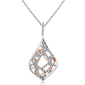 14k Two Toned Tear Drop Diamond Pendant