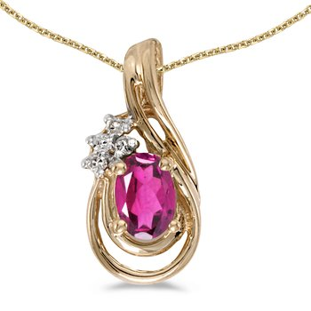 14k Yellow Gold Oval Pink Topaz And Diamond Teardrop Pendant