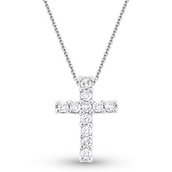 Diamond Cross Necklace in 14k White Gold with 11 Diamonds weighing .68ct tw.