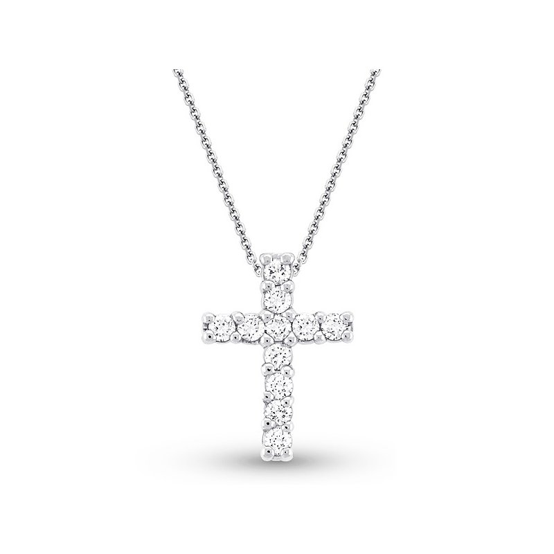 MAZZARESE Fashion Diamond Cross Necklace in 14k White Gold with 11 Diamonds weighing .68ct tw.