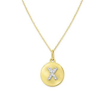 Diamond Uppercase Mini Disc Initial X Necklace