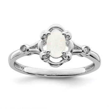 Sterling Silver Rhodium-plated Created Opal & Diam. Ring