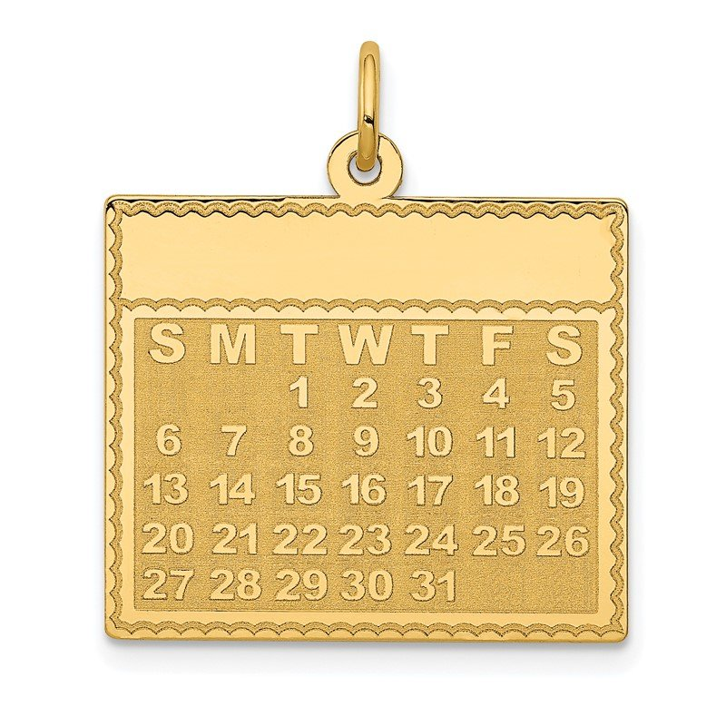 Quality Gold 14k Tuesday the First Day Calendar Pendant