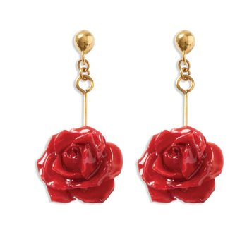 Lacquer Dipped Red Rose Dangle Earrings
