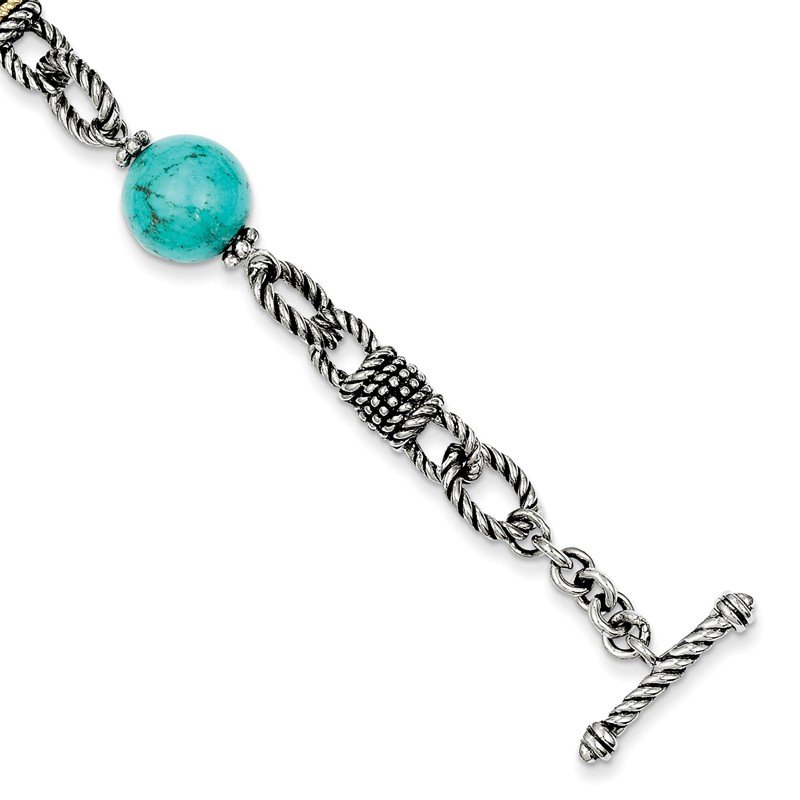 Shey Couture Sterling Silver w/14k Reconstructed Turquoise Bracelet