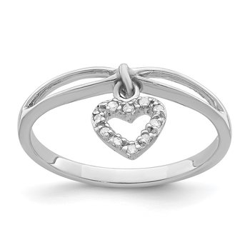 Sterling Silver Rhodium Plated Diamond Heart Dangle Ring