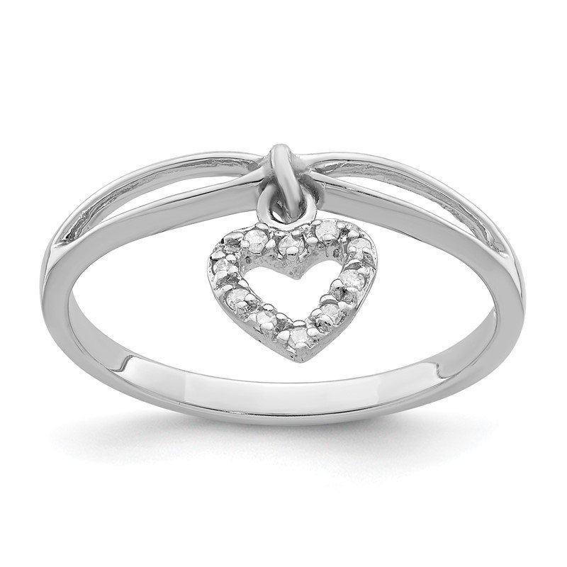 Quality Gold Sterling Silver Rhodium Plated Diamond Heart Dangle Ring