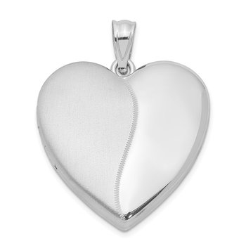 Sterling Silver Rhodium-plated 24mm Polished & Satin Heart Locket