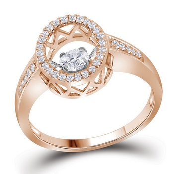 10kt Rose Gold Womens Round Cognac-brown Color Enhanced Diamond Solitaire Bridal Wedding Engagement Ring 3/8