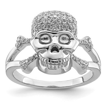 Sterling Silver Rhodium-plated & CZ Skull Ring