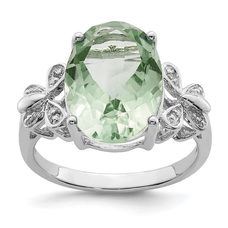 Quality Gold Sterling Silver Rhodium Green Quartz & Diamond Ring